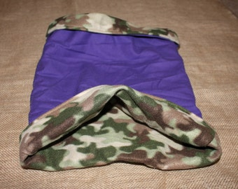 LARGE Lightweight Fleece Camo and Purple Tunnel for Small Pets.
