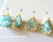 Druzy Druzy pendant Geode pendant druzes stone pendant 24k Gold plated Edge Druzy in Aquamarine blue color Jewelry making JSP-5891