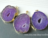 Druzy pendant Agate slice pendant, 24kt,Gold Plated Edge agate slice pendant in Purple color gemstone Pendant JSP-6173