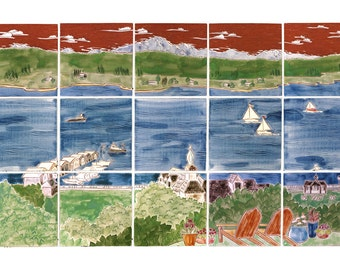 """ON SALE: Bay with Mountains handmade tile mural 18""""H x 30""""W"""