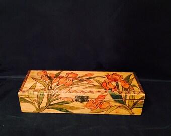 Vintage Glove Box Pyrography Folk Art Wood Box 1920's
