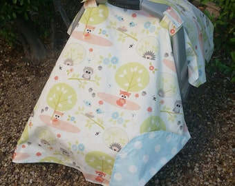 Baby Car Seat Cover - Baby Car Seat Canopy - Woodland Baby Canopy - Fox Car Seat Canopy - Baby Shower Gift - Blue Car Seat Cover
