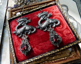 Antique French Crowned Dragon Earrings, Sangreal, Magdalene Talismans for the Passionate, by RusticGypsyCreations