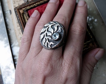 SALE:  Handcrafted Vintage Sterling Silver Tribal Gypsy Ring, Talisman Leaf & Vine Ring, offered by RusticGypsyCreations