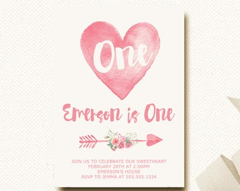 Valentine Heart Birthday Invitation | Our Little Sweetheart | Tribal Arrow Floral Pink