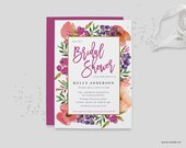 "Bridal Shower Invitation - WaterColor Flowers Printable JPEG Wedding Shower Invitation - 5""x7"" Elegant Floral Bridal Shower Invite"