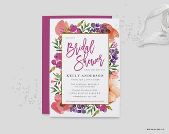 Printable Watercolor Bridal Shower Invitation | Floral Shower, Digital Invite, Spring Wedding, Customizable 5x7 Invitation