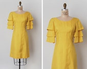 vintage 1960s dress / 1960s silk dress / flounce sleeve dress / Copacabana dress