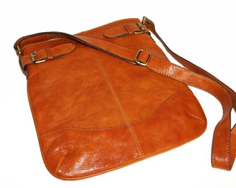Distressed Orange Genuine Leather Messenger Bag Vidal // Leather Cross-body Bag, anthic look