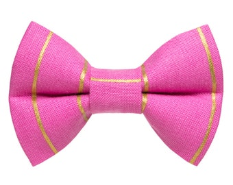 "Cat Bow Tie - ""The Glam Rocker"" -  Pink with Metallic Gold Stripes"