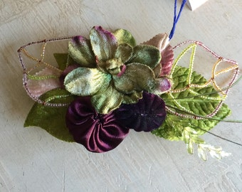 Plum, greens, Velvet Flowers, hair accessory, bridal, fascinator
