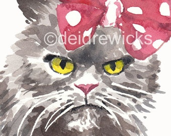 Grumpy Cat PRINT - Watercolor Painting, 5x7 Print, Grey Cat, Animal Painting
