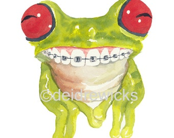 Frog Watercolor PRINT - 5x7 Illustration Print, Tree Frog, Frog in Braces, Nursery Art, Children's Art