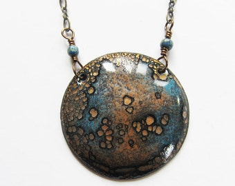 30 inch Long enamel moon pendant Bohemian jewelry Boho layering medallion necklace Unique enameled copper jewelry