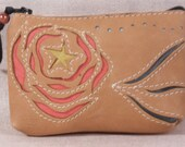 Leather coin purse Rose Star in tan leather with silk repurposed lining FREE shipping