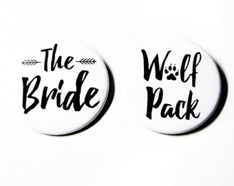 Bachelorette Party Buttons Wolf Pack Wedding Bridesmaids Accessories