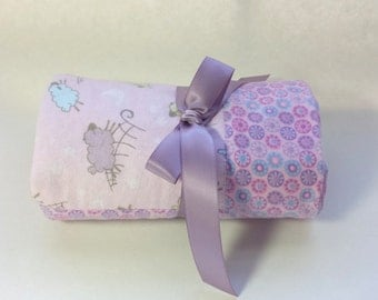 Handmade Flannel Baby Blanket - Lavender Lambs with a Floral Border - Reversible Baby Blanket, Baby Shower Gift, Receiving Blanket