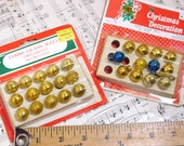 Miniature 15mm gold glass Christmas ornaments in original box feather tree ornaments tiny ornaments