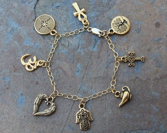 Ancient Religions Gold Anklet or Women's Plus Size  Charm Bracelet- om, hamsa, tree of life, cross, ankh, labyrinth, genie, angel wings
