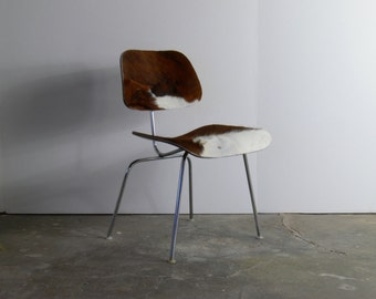 Eames for Herman Miller Cowhide Molded Plywood Side Chair-DCM