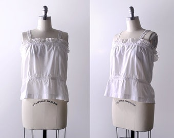 1910's white lace camisole. edwardian cotton blouse. tank top. floral lace edge. XL.