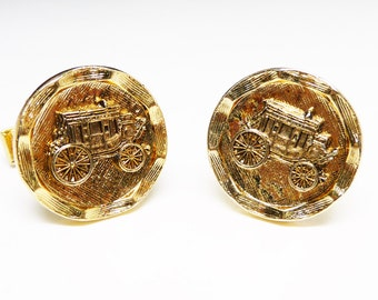 Goldtone Stage Coach CuffLinks - Round Button Style Cuff Links - Vintage 1970's Country Western Design - Transportation