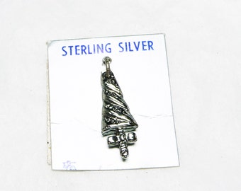 Sterling Christmas Tree Charm - Modernist Design in Sterling Silver - Old Store Stock