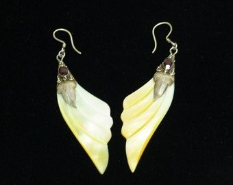 Sterling Silver Wing Earrings - Dangling Mother of Pearl Wings with Garnet Red Stone - For Pierced Ears - Retro 1980's