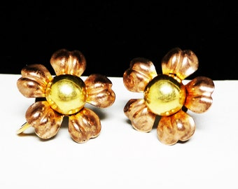 Van Dell Goldfilled Earrings - Daisy Flowers in Two Tone - 1/20th 12K Gold Filled Screwback Earrings - Vintage