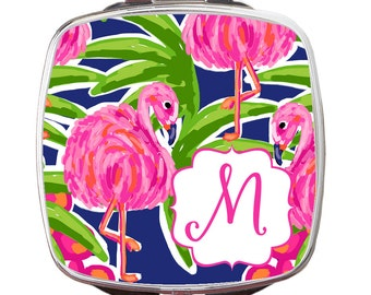Personalized Compact Mirror, Fancy Flamingos, Teacher Gift, Bridal Gift, Party Gift, Tracey Gurley Designs Compact Mirror, Back To School