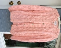 Vintage Sweater Palest Pink Sweater Pink Wool Mohair Cardigan with Shell buttons Peggy Sue Look Sock Hop Wear Preppy Pretty Made in Italy