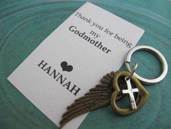 Godparent Keychain Gift For Godparents Gift For: Godmother Gift Personalized Baptism Keychain By Creations138