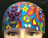 Hand Made One of a Kind Skull or Chemo Cap, Skulls, Hearts, Flowers, Peace Signs, Butterflies, Hippie, Motorcycle, Hair Loss, Do Rag, Hat
