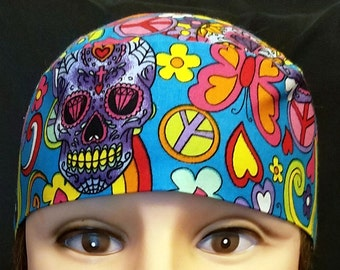 Handmade One of a Kind Skull or Chemo Cap, Skulls, Hearts, Flowers, Peace Signs, Butterflies, Hippie, Motorcycle, Hair Loss, Do Rag, Hat
