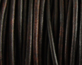 Leather Cord, 1.5mm Antique Brown, 50 Meters, 164 Feet, Distressed Leather, Round Leather, Genuine Leather, Natural Dye, Soft Cord, Spool