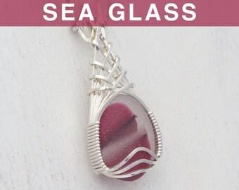 Cranberry Red Multi English Sea Glass Pendant