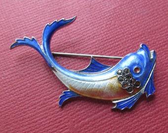 Sterling Enamel Vintage Fish Brooch Marcasite Pin Jewelry