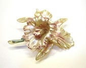 "Thermoplastic Orchid Brooch Vintage Plastic Pin 3"" Painted"