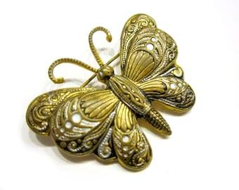 Damascene Gold Butterfly Brooch Vintage Spain Damascene Pin Vintage Butterfly Jewelry