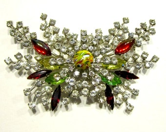 Vintage Rhinestone Butterfly Brooch Clear Colorful Rhinestone Butterfly Pin Spray Brooch Marbled Glass Red Green Rhinestone Brooch