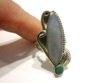 Vintage Silver Abalone Green Turquoise Ring Size 5 3/4 Natural Stone Ring Leaf Leaves Carved Ring for Her Gift for Mom Gift under 25
