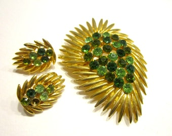 Vintage Green Rhinestone Brooch Vintage Jewelry Brooch Pin Bonus Earrings