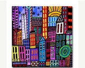 60% Off Today- NYC art Tile Ceramic Coaster Mexican Folk Art Print of painting by Heather Galler