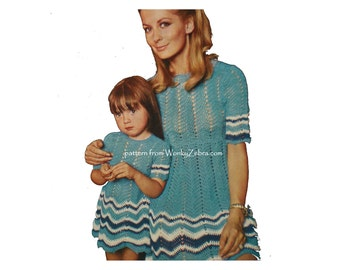 Vintage ChevronCrochet Pattern WZ005 Mother and Daughter Dress for Summer from WonkyZebra
