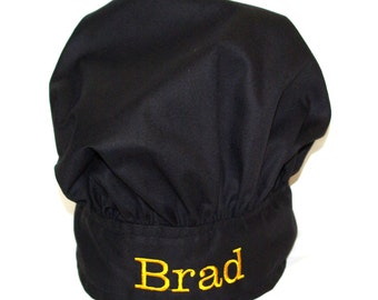 Black Chef Hat, Personalize With Name, No Shipping Charge, Ready To Ship TODAY, AGFT 569