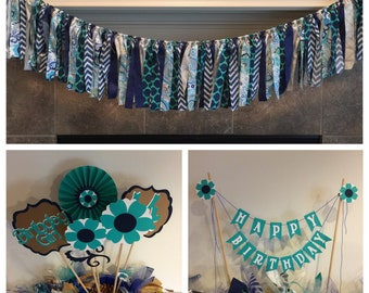 Girl Birthday Party Package, Teal Flower Birthday Centerpiece, Happy Birthday Cake Banner, Teen Party Package