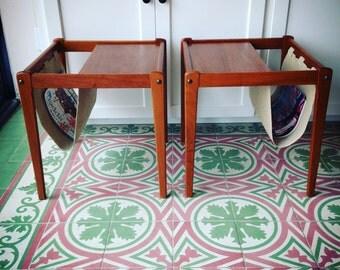 pair of Danish modern teak end tables/magazine racks