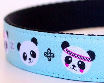 Panda Party Dog Collar, Blue Pet Collar, Fun Dog Collar, Ribbon Adjustable Dog Collar