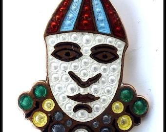 Vintage 1910s Enamel Harlequin Clown Pin