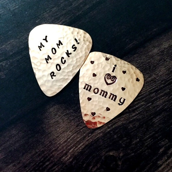 CUSTOM Guitar Pick, COPPER Plectrum, Engraved Guitar Pick, Personalized Pick, Functional, Usable Gift, Musican, My Mommy Rocks, Coordinates